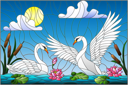 Pair of swans in the pond with flowers in stained glass style illustration. Ilustracja
