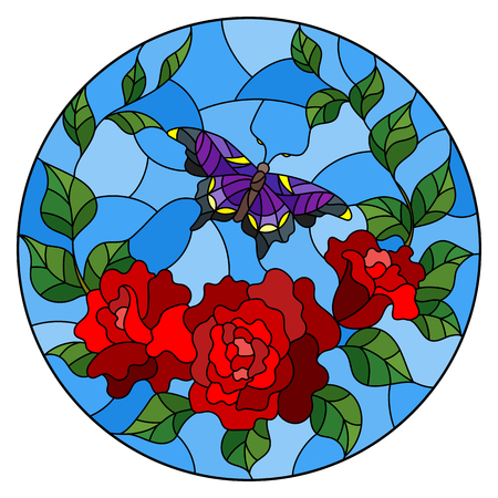 Illustration in stained glass style with red flowers and leaves of rose, and purple butterfly round picture.