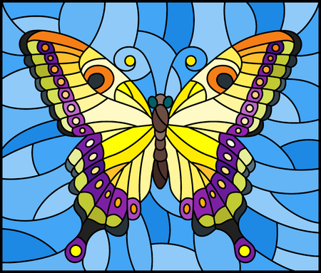 Illustration in stained glass style with bright yellow butterfly on a blue background.