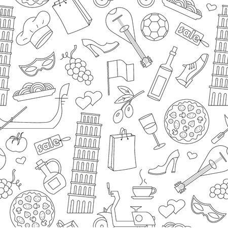 Seamless pattern on the theme of journey in the country of Italy, simple contour icons on white background. Illustration