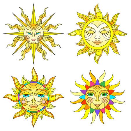 白い背景に顔を持つステンドグラスの太陽のセットは、分離します