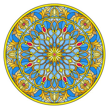 Illustratie in gebrandschilderd glasstijl, rond spiegelbeeld met bloemenornamenten en wervelingen