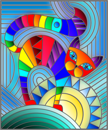 Illustration in stained glass style with abstract geometric rainbow cat