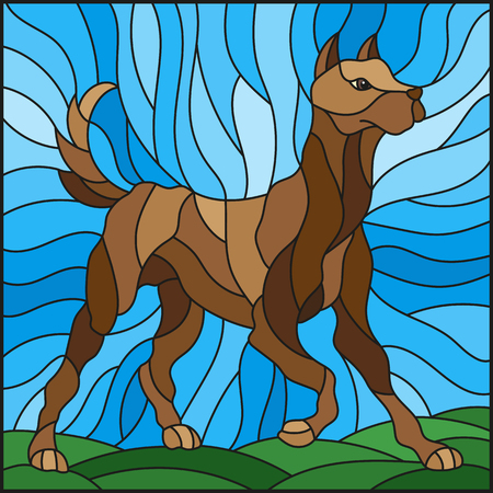 Illustration in stained glass style abstract in brown dog on a background of meadows and sky Illustration