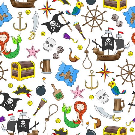 Seamless illustration of the topic of piracy and Maritime travel color icons on white background