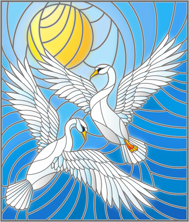 Illustration in stained glass style with a pair of  swans on the background of the daytime sky and clouds Illustration