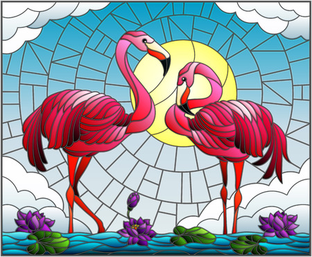 Illustration in stained glass style with pair of Flamingo , Lotus flowers and reeds on a pond in the sun, sky and clouds