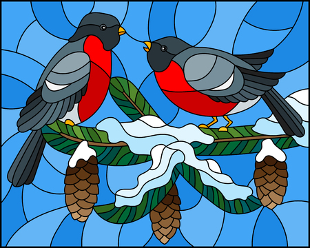 Stained glass with a pair of birds