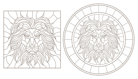 Set contour illustrations of stained glass with a lions head. Round and square image, dark contours on white background. Illustration