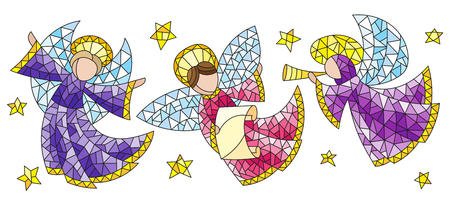A set of stained glass angels and stars, colored figures on a white background. Ilustracja