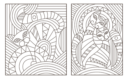Set of outline illustrations in the style of stained glass with abstract cats.