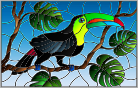 Illustration in stained glass style bird Toucan on branch tropical tree against the sky. Illustration