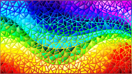 Abstract stained glass background, the colored elements arranged in rainbow spectrum.