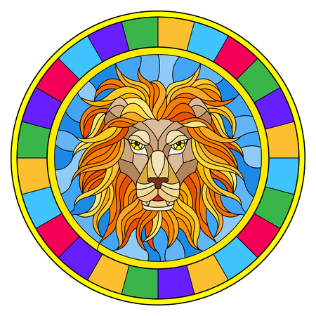 The illustration in stained glass style painting with a lion's head , a circular image with bright frame.
