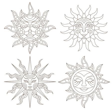 白い背景に顔を持つステンドグラスの輪郭太陽のセット。