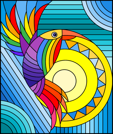 Illustration in stained glass style with abstract geometric rainbow bird Çizim