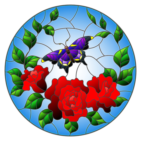 Illustration in stained glass style with red flowers and leaves of  rose, and purple butterfly round picture