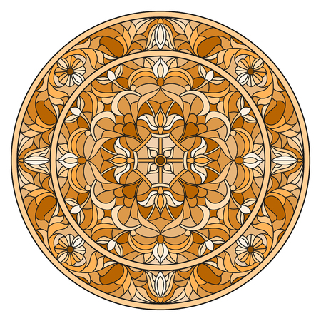 Illustration in stained glass style, round mirror image with floral ornaments and swirls,brown tone ,sepia