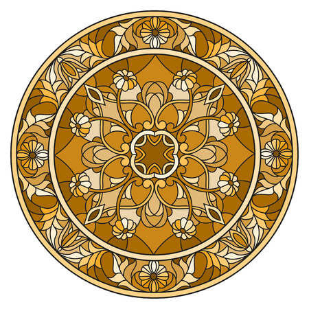 Ilustração no estilo do vitral, imagem invertida redonda com ornamento florais e redemoinhos, tom marrom, sepia