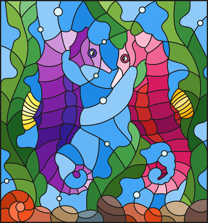 Illustration in stained glass style with a pair of fish seahorse