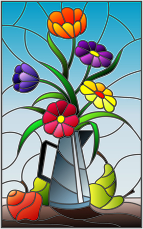 Illustration in stained glass style with bouquets of bright flowers in a metal jug, pears and apples on table on blue background