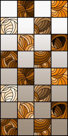 Illustratie in de stijl van gebrandschilderd glas met vierkanten gerangschikt in een dambordpatroon, bruin gamma, Sepia