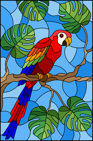 Illustration in stained glass style bird parakeet on branch tropical tree against the sky