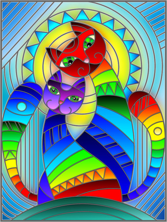 Illustration in stained glass style with a pair of abstract geometric rainbow cats on a blue background with sun
