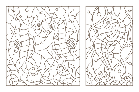 Set contour illustrations of stained glass with sea horses on a background of seaweed, dark outline on a white phone Ilustracja