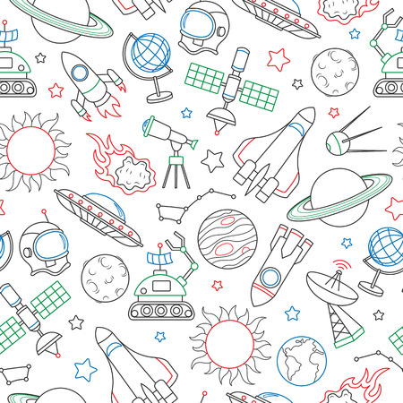 A Seamless pattern on the theme of space and space flight, icons drawn with colored marker on white background