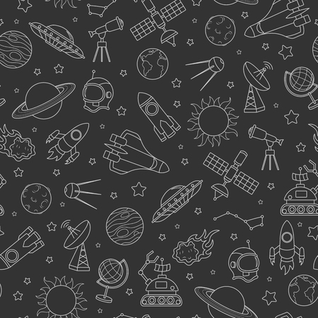 Seamless pattern on the theme of space and space flight. The white contour icons on dark background.