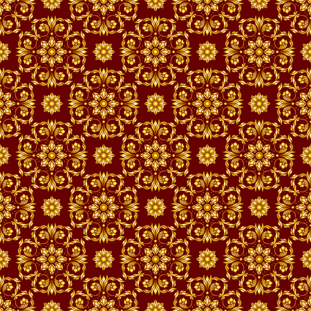 Seamless background with floral patterns, vintage golden patterns on Burgundy background. Illustration