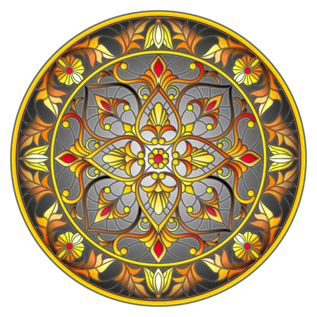 Illustration in stained glass style, round mirror image with floral ornaments and swirls on dark background.
