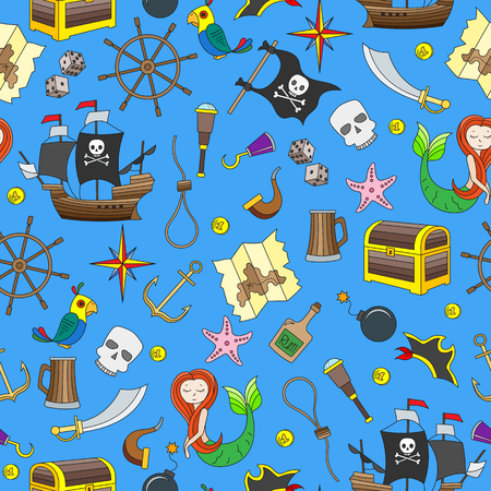 Seamless illustration of the topic of piracy and maritime travel. Color icons on blue background.  イラスト・ベクター素材