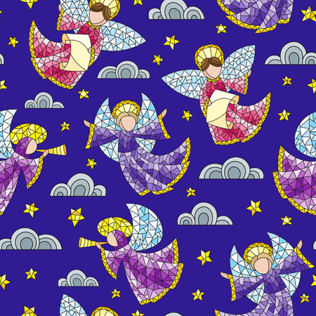 Seamless background with stained glass angels, clouds and stars on blue background.