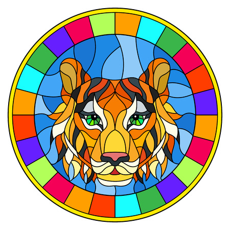 The illustration in stained glass style painting with a tiger's head. A circular image with bright frame.