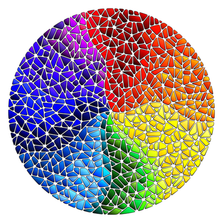 Abstract stained glass background. The colored elements arranged in rainbow spectrum, round image. Illustration