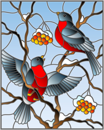 Illustration in stained glass style with a pair of birds bullfinches on snow-covered mountain ash branches with berries on a background of the sky.