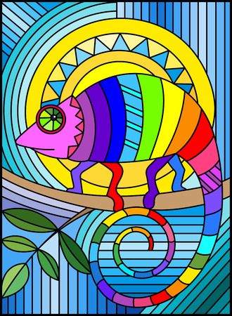 Illustration in stained glass style with abstract geometric rainbow chameleon