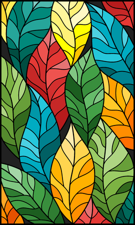 Illustration in stained glass style with colorful leaves trees on a dark background