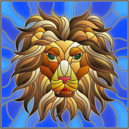 The illustration in stained glass style painting with a lion's head on a blue  background , square image Ilustracja