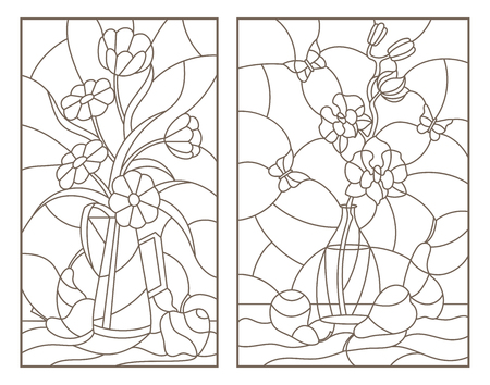 Set contour illustrations of the stained glass Windows with still lifes , flowers in vases and fruit Vectores