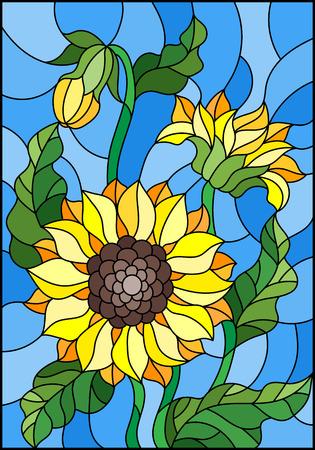 Illustratie in gebrandschilderd glasstijl met een boeket van zonnebloemen, bloemen, knoppen en bladeren van de bloem op blauwe achtergrond