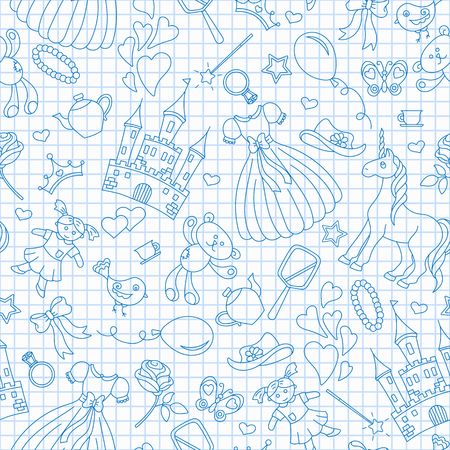 Seamless pattern on the theme of Hobbies baby girls, simple contour icons,blue  contour  icons on the clean writing-book sheet in a cage