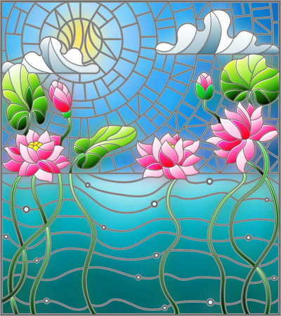 Illustration in the style of stained glass with a water landscape, Lotus flowers against the background of the pond, sky and sun