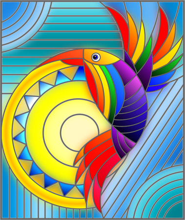 Illustration in stained glass style with abstract geometric rainbow bird Ilustracja