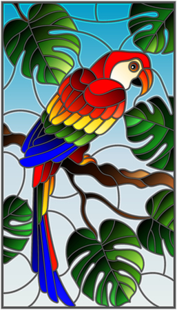 Illustration in stained glass style of a parakeet