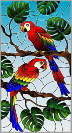 Illustration in stained glass style with pair of  parakeets