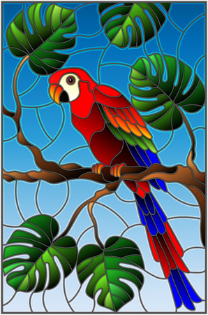 Illustration in stained glass style with a parakeet on a branch