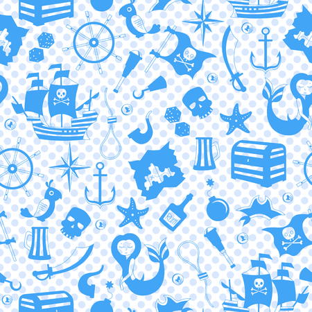 Pirates and maritime travel Seamless pattern